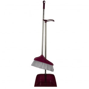 Wide Head Broom & Dust Pan Set With Steel Pipes