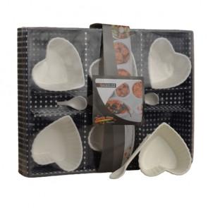 Fancy Porcelain Bowls With Spoons 6-Pcs Set (Heart Shape)