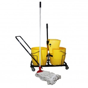 Twin Bucket Lever Squeeze Mop On Trolley