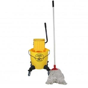 Single Bucket Lever Squeeze Mop On Wheels